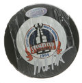 Hockey Collectibles:Others, Mike Richter Signed Hockey Puck. Known as a hero in New York forleading the '94 Rangers to the prized Stanley Cup. Here h...