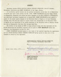 Autographs:Others, 1977 Johnny Weissmuller Signed Typed Agreement. Johnny Weissmuller,one of the most accomplished swimmers in the history of...