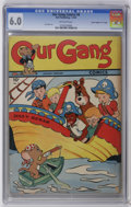 """Golden Age (1938-1955):Humor, Our Gang #9 Davis Crippen (""""D"""" Copy) pedigree (Dell, 1944) CGC FN 6.0 Off-white pages. Featuring Benny Burro and Happy Hound..."""