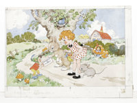 "Dorothy M. Wheeler - ""Josie, Click, and Bun"" Illustration Original Art (undated). Enid Blyton's beloved childr..."