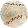 Autographs:Baseballs, Early 1920's Babe Ruth, Walter Johnson, Ty Cobb & More Signed Baseball. While the passing of time has not been as kind as i...