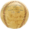 Autographs:Baseballs, 1920's Miller Huggins Signed Baseball. A great garage sale find forour lucky consignor, who noticed this OAL (Johnson) bal...