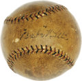 Autographs:Baseballs, 1924 Babe Ruth World Series Single Signed Baseball. Historic horsehide was acquired in person by the father of our consigno...