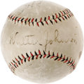 Autographs:Baseballs, Circa 1925 Washington Senators Signed Baseball with Walter Johnson. A commanding sweet spot signature from the mighty Big T...
