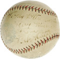 Autographs:Baseballs, 1929 Babe Ruth Single Signed Baseball. A gorgeous OAL (Barnard) ball with contrast stitching and bold stamping holds a char...