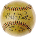 "Autographs:Baseballs, 1934 Babe Ruth, Lou Gehrig & Mickey Cochrane Signed Baseball.We hate to call the autographs on this remarkable baseball ""p..."