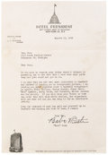Autographs:Baseballs, 1944 Hall of Famers Signed Baseball with Babe Ruth Signed Letter ofProvenance. Spectacular lot is best described in the wo...