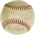 Autographs:Baseballs, 1940's Ty Cobb, Jimmie Foxx & Lefty Grove Signed Baseball. Trio of top-tier Hall of Famers briefly shared a dugout at Shibe...