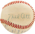 Autographs:Baseballs, 1947 Mel Ott Signed Baseball. A preseason match in Sheffield, Ohiobetween the New York Giants and the Cleveland Indians sp...