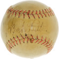 "Autographs:Baseballs, 1947 Babe Ruth Signed Baseball with Photo Documentation. This""Official League"" orb was once the proud possession of a youn..."
