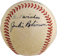 Late 1940's Jackie Robinson Single Signed Baseball. The heroic Dodger's appearance on a ball dating from Ford Frick's Na...