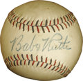 Autographs:Baseballs, 1948 Babe Ruth Single Signed Baseball. The consignor's notarized letter of provenance is so charming, we'll let it do the t...