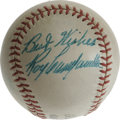 "Autographs:Baseballs, 1950's Roy Campanella Signed Baseball. So bold as to appear borderline radioactive, this blue ink ""Best Wishes, Roy Campane..."
