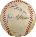 "Autographs:Baseballs, 1950's Jackie Robinson Signed Baseball. Worth thousands as a""legitimate"" single, this ""Official Southern League"" ball exhi..."
