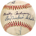 Autographs:Baseballs, 1950's Mickey Cochrane & Ray Schalk Signed Baseball. Sevensignatures reside on this Official Little League ball, and each ...