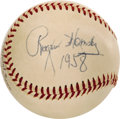 "Autographs:Baseballs, 1958 Rogers Hornsby Single Signed Baseball & Album Page. ""Anyballplayer that don't sign autographs for little kids ain't a...(Total: 2 Items)"