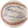 Autographs:Baseballs, 1965 Hall of Famers Multi-Signed Baseball with Foxx, Wheat. Each and every baseball icon who signed this OAL (Cronin) baseb...