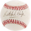 "Autographs:Baseballs, 1970's Satchel Paige Single Signed Baseball, PSA NM-MT 8. FellowHall of Famer Dizzy Dean once said of Paige, ""He's a bette..."
