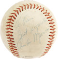 Autographs:Baseballs, 1970's Thurman Munson Single Signed Baseball. The fearless leaderof the Yankee World Championship squads of the disco era,...