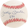 "Autographs:Baseballs, 1980's Mickey Mantle ""536"" Single Signed Baseball. While notations reflecting the Mick's Hall of Fame induction year, or th..."