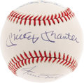 Autographs:Baseballs, 1980's Mays, Mantle & Snider Signed Baseball. Remembering anage when every young boy in the New York area dreamed of playi...
