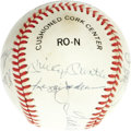 Autographs:Baseballs, 1980's 500 Home Run Club Signed Baseball. It's rare to see a genuine example of this signed ball, arguably the most forged ...