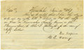 Autographs:Others, 1867 Alexander Cartwright Handwritten Signed Land PurchaseDocument. Considered by many to be the father of modern baseball...
