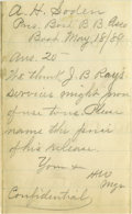"""Autographs:Letters, 1889 Harry Wright Handwritten Signed Note. This hugely influential baseball pioneer responds to an inquiry from """"The Boston..."""