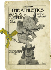 1913 Philadelphia Athletics Team Signed Celebratory Dinner Program. For the legions of collectors who focus upon artifac...