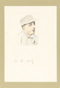 "Autographs:Others, 1924 Eddie Plank Signed Original Artwork. ""Gettysburg Eddie""learned the game of baseball on grounds hallowed by this natio..."