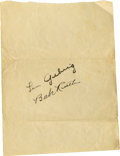 Autographs:Others, Circa 1927 Babe Ruth & Lou Gehrig Signed Album Page. You'll behard-pressed to locate a more displayable pair of autographs...