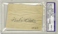 "Autographs:Others, 1927 ""Babe"" Ruth Signed Cut Signature. An unimprovable pencilautograph from the Bambino, both in terms of signature qualit..."