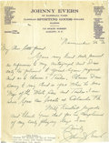 Autographs:Letters, Late 1920's Johnny Evers Handwritten Signed Letter. Exceptional handwritten letter from the pivot man of the famous Chicago...