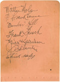 Autographs:Others, 1929 St. Louis Cardinals Team Signed Sheet with Bottomley. Sixteen10/10 vintage fountain pen signatures found on front and...