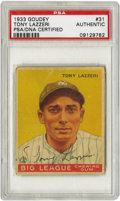 Autographs:Sports Cards, 1933 Goudey Tony Lazzeri #31, Signed. Though overshadowed by the power of teammates Babe Ruth and Lou Gehrig, their fellow ...