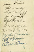 Autographs:Others, 1934 Cleveland Indians Signed Sheet with Walter Johnson. Theappearance of forty-four year old Hall of Famer Sam Rice, who ...