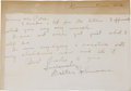 Autographs:Letters, 1930's Walter Johnson Handwritten Signed Letter. While it's toughenough to find a quality autograph from this inaugural cl...