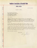 "Autographs:Letters, 1943 Billy Evans Signed Letter. Hall of Fame hurler Waite Hoyt oncecalled Evans, ""...the best, fairest and squarest umpire..."