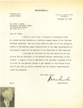 Autographs:Letters, 1943 Kenesaw Mountain Landis Signed Letter to Ford Frick. Thefierce Commissioner best remembered for levying the lifetime ...