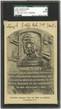 Autographs:Post Cards, 1940's Hugh Duffy Twice Signed Hall of Fame Plaque. The 1894 National League Triple Crown winner (.440 average, eighteen hom...