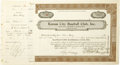 Autographs:Others, 1940's Ed Barrow Signed and Personally Owned Stock Certificates Lotof 4. Intriguing selection of four stock certificates r...
