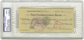 "Autographs:Checks, 1944 Walter Johnson Signed Check. ""He's got a gun concealed abouthis person,"" journalist Ring Lardner once said of the mig..."