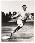 "Autographs:Photos, 1946 Ty Cobb Signed Photograph. Marvelous 8x10"" image of theGeorgia Peach rounding third has a gracefully penned inscriptio..."