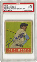 Autographs:Sports Cards, 1948 Leaf Joe DiMaggio #1 PSA VG 3, Signed. Arguably the most physically attractive card ever to feature the image of the Y...