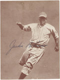 Autographs:Others, 1950's Jackie Robinson Signed Exhibit Card. Terrific action imageof the fleet-footed Hall of Famer appears on a slightly t...