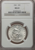 Seated Half Dollars, 1861 50C MS63 NGC....