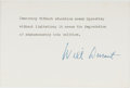 Books:Americana & American History, Will Durant (1885-1981, American Historian, Author, andPhilosopher). Typed Sentiment Signed. [N.p., n.d.]. On blank whitec...