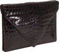 Luxury Accessories:Bags, Bottega Veneta Shiny Chocolate Crocodile Double-Sided PortfolioClutch. ...