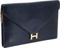 Luxury Accessories:Bags, Hermes Blue Marine Lizard Lydie Clutch with Shoulder Strap and GoldHardware. ...