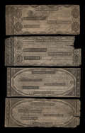 Obsoletes By State:Massachusetts, Perkins Plate Notes from Four Different Massachusetts Banks.. ...(Total: 4 notes)